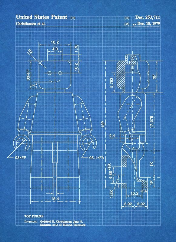 LEGO Minifigure US Patent Art Mini Figure blueprint by Steve - copy plane blueprint wall art