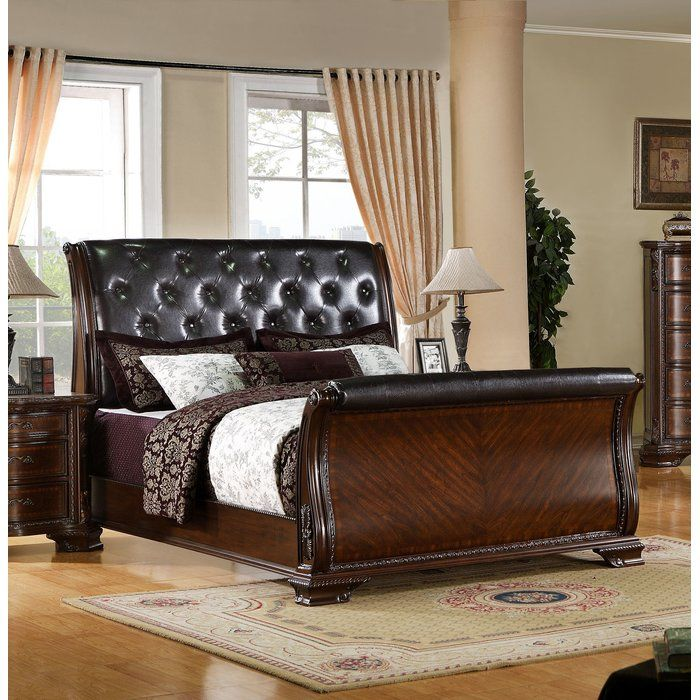 Hainault Upholstered Sleigh Bed Sleigh beds, Leather