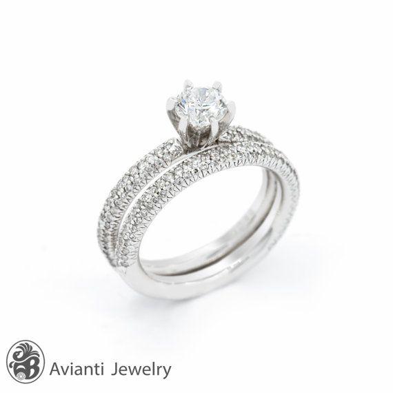 Noces de diamant bague bague de fiançailles par AviantiJewelry