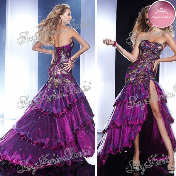 Purple Peacock Prom Dress