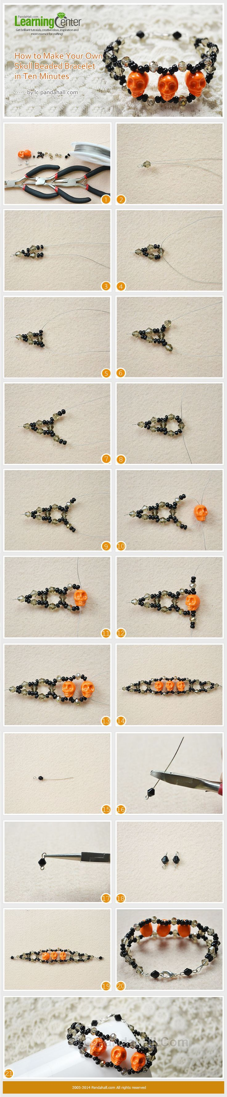 make halloween jewelry with skull beads | beads, bracelets and craft