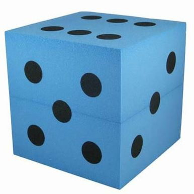 Large Foam Dice Blue 100mm D6 Foam Game Room Decor Blue