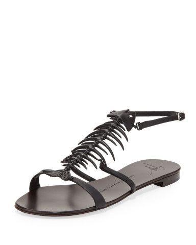 a539f8a1f91c4 Giuseppe Zanotti Fishbone Flat Sandal, Black | Keep Kickin' It ...