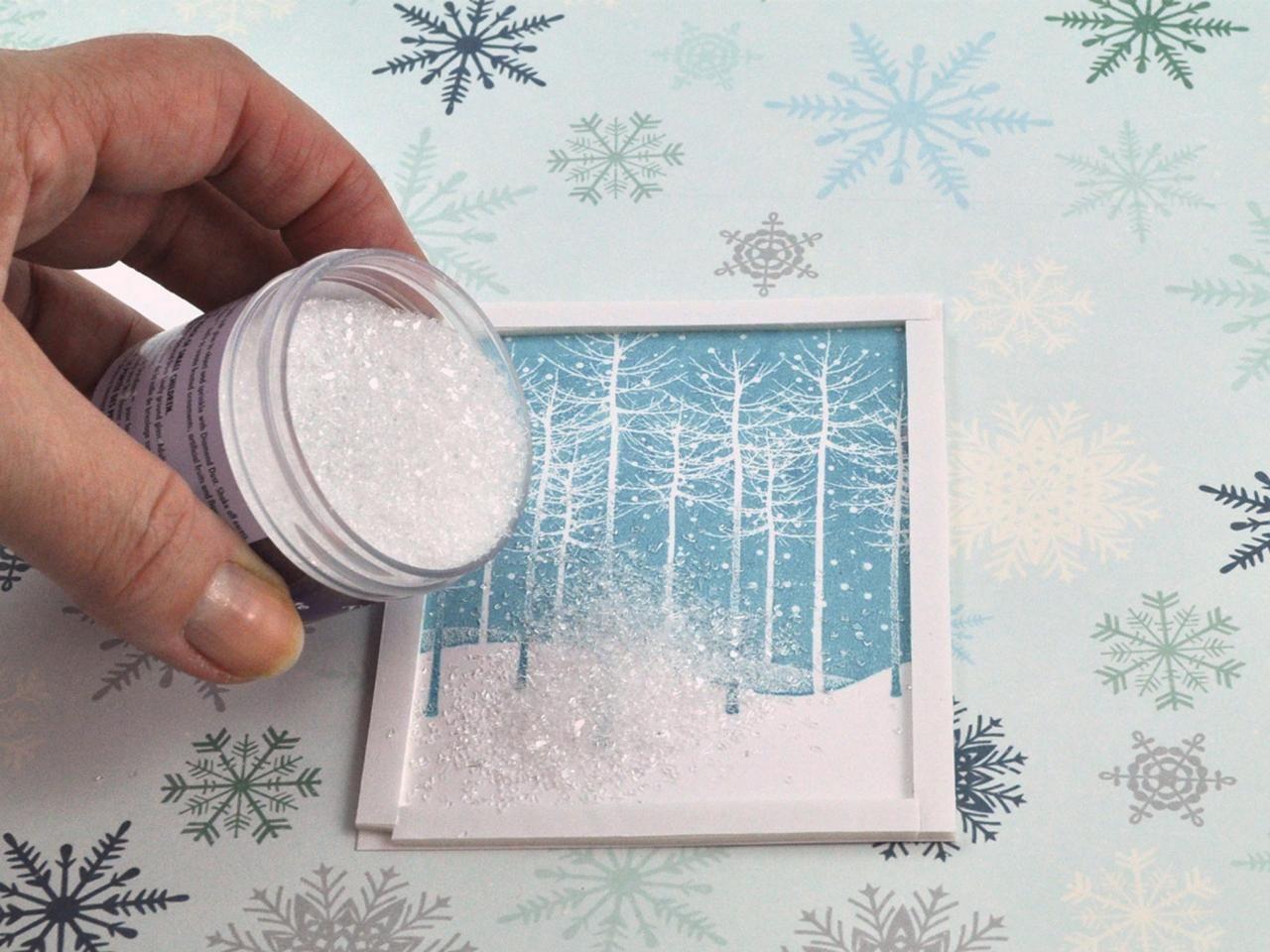 Снег на открытке своими руками, днем