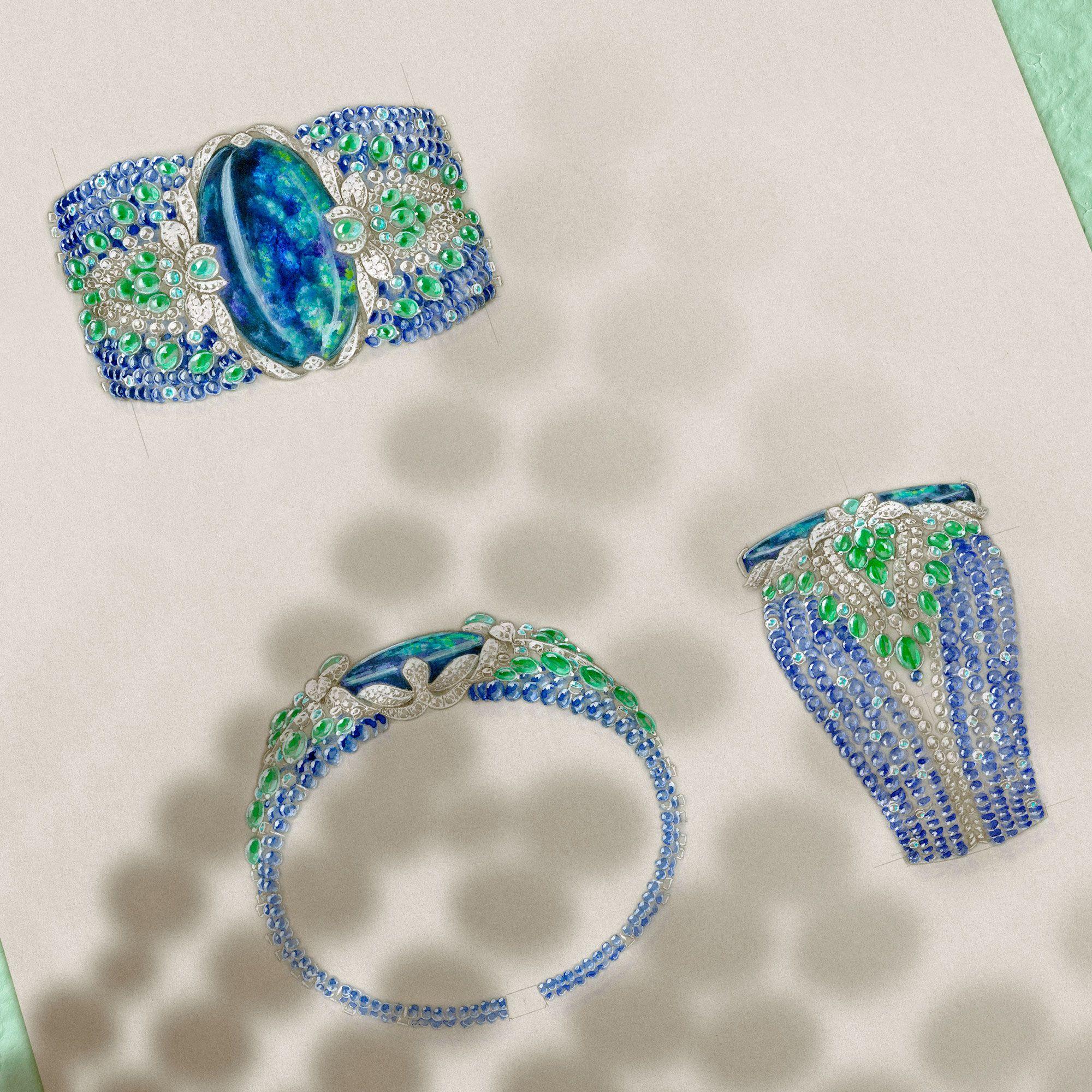 Cartier Etourdissant Lagon bracelet sketches | jewellery ...