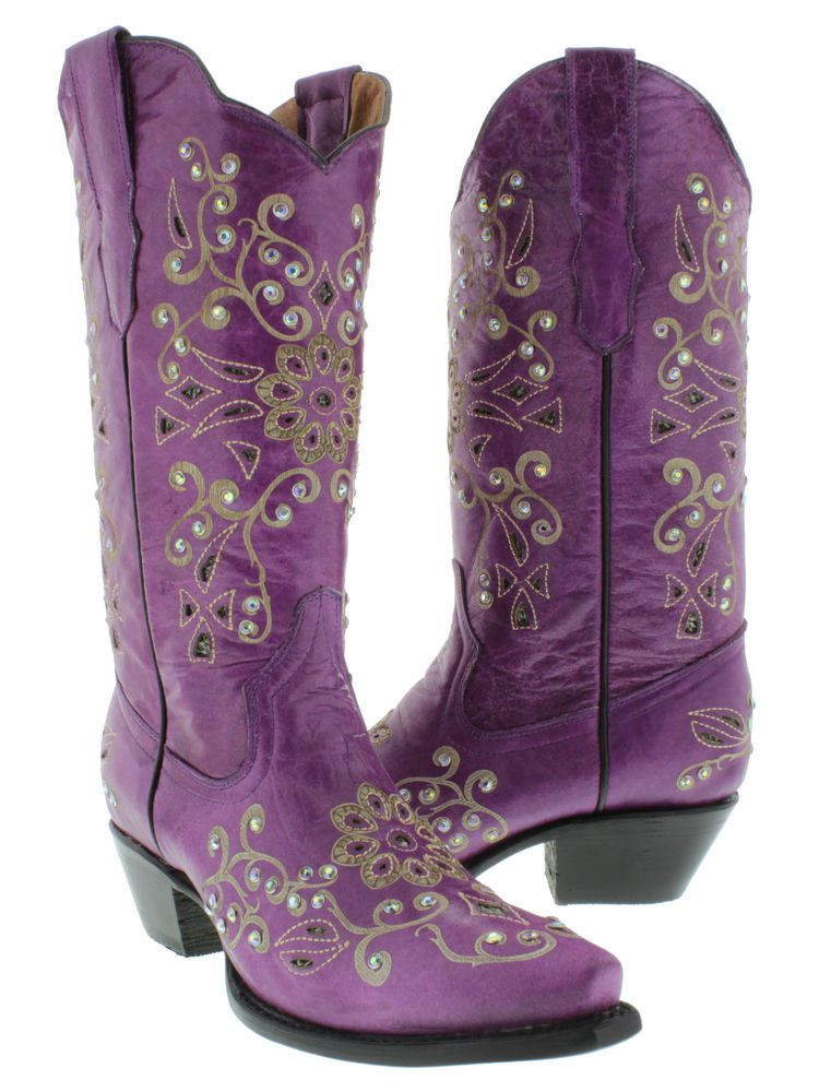Womens cowboy boots ladies leather rhinestone crystal rodeo dance ...