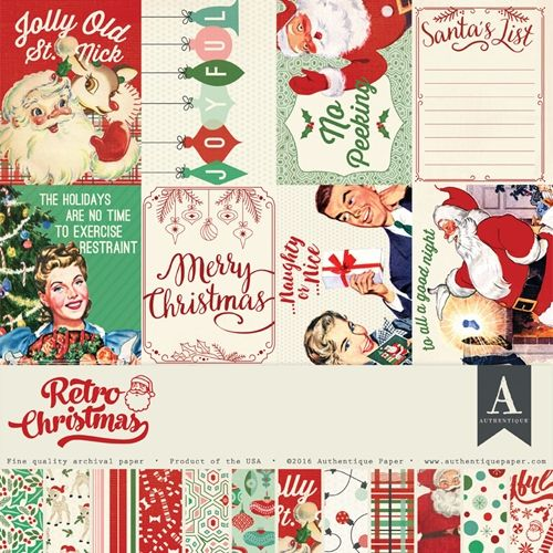 Authentique RETRO CHRISTMAS 12 x 12 Collection Kit REC009 CRAFT - christmas wish list paper