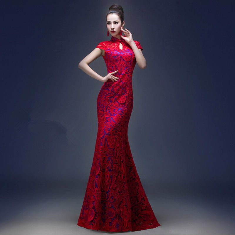 Bride Wedding Dress Backless Cheongsam Modern Chinese Traditional ...