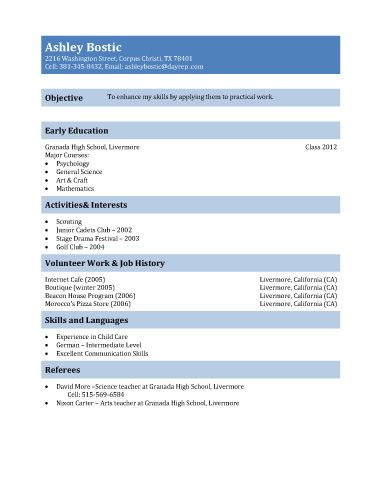 First Resume Template For Teenagers  Teen Resume Sample For  And