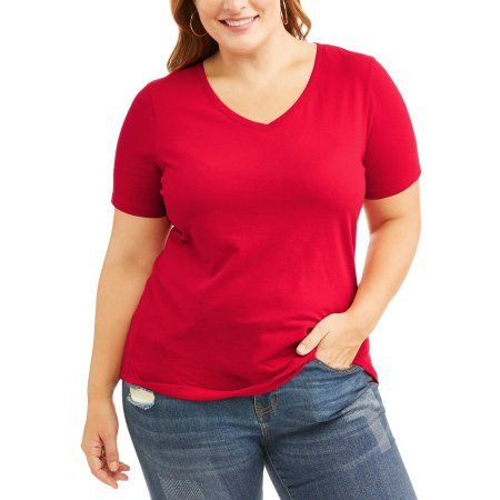 bd06ff9a Plus Size Faded Glory Women's Plus Short Sleeve V-Neck T-Shirt, Size: 1XL,  Red