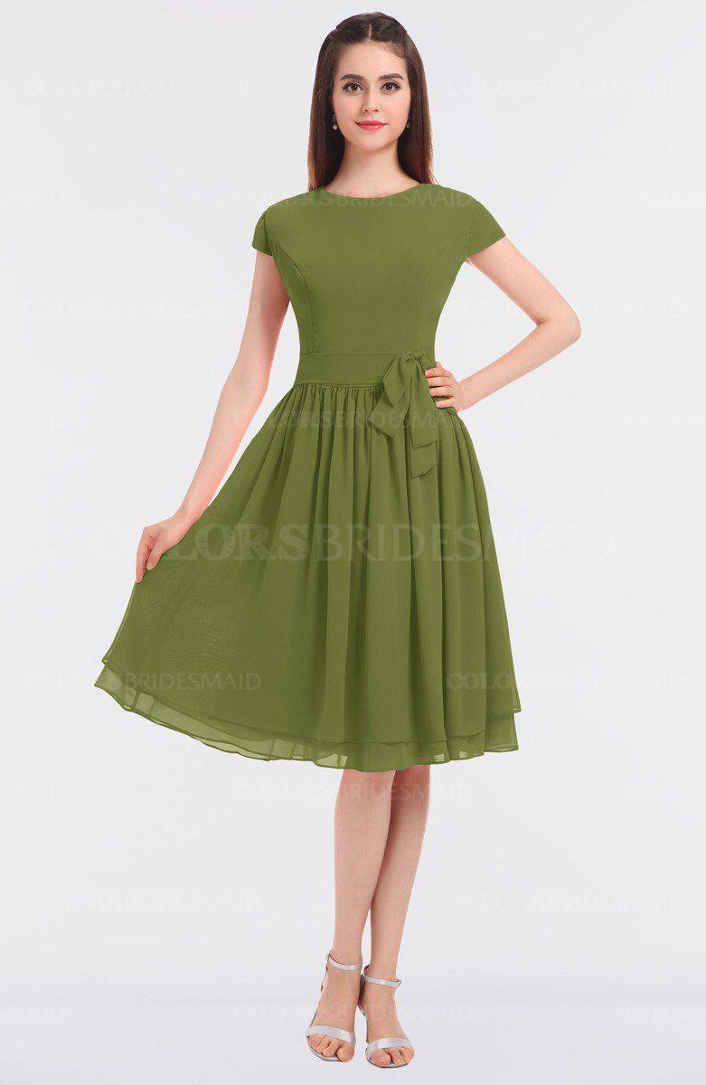 4cd7e0d8a3d35 Olive Green Modest A-line Short Sleeve Zip up Flower Bridesmaid Dresses on  sale at colorsbridesmaid.com. This A-line Bridesmaid Dresses features Knee  Length ...
