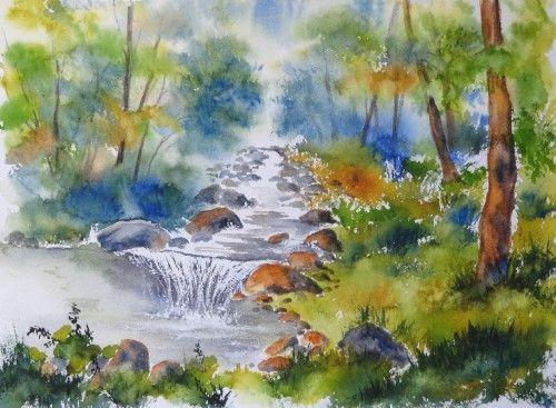 aquarelle,paysage,rivière,torrent,abby,arbres,montagne ...