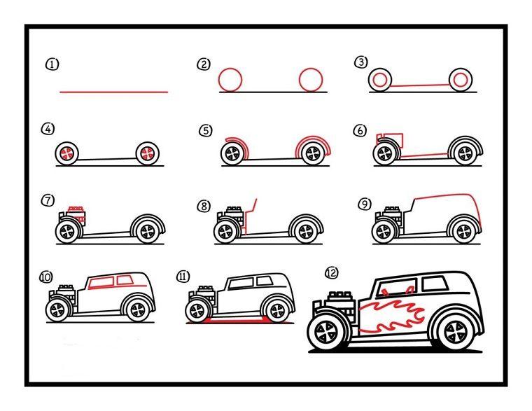 Disegni Facili Da Copiare Come Disegnare Una Macchina Seguendo Il Tutorial Disegni Di Automobili Disegni Facili Disegni