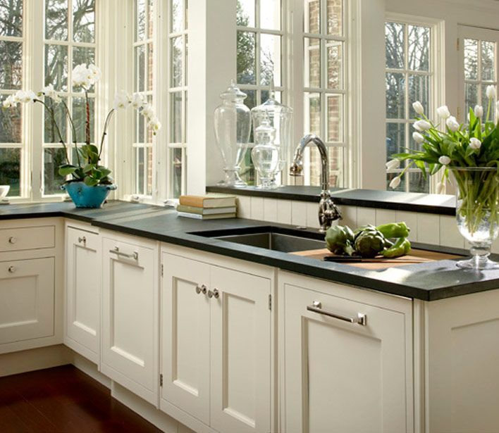 Gorgeous Windows U2013kitchen Design With Cream Shaker Kitchen Cabinets Paired  With Honed Black.