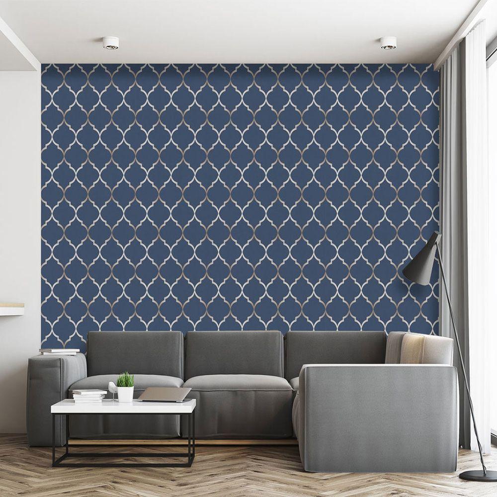 Fretwork Geometric Wallpaper Midnight Blue Rasch 701647 in