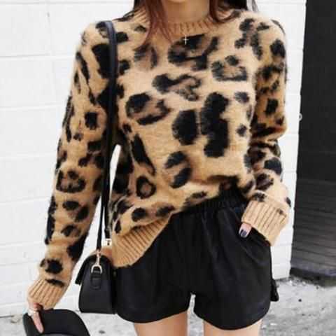 95bacebdeb Leopard Print Cashmere Sweater Women Pullover Mohair Sweater Korean Long  Sleeve Knit Pullovers O-Neck Winter Warm Jumper Tops
