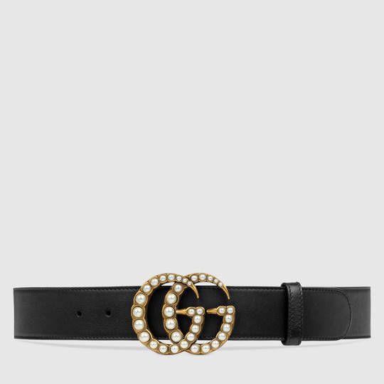 Gucci Ceinture en cuir avec boucle Double G nacrée