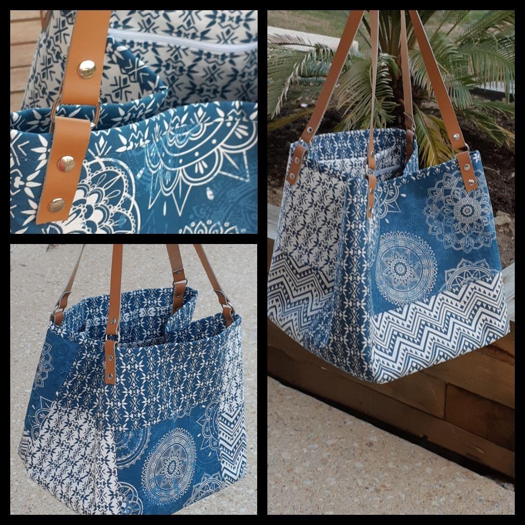 """Le grand sac carré """"patchwork"""" fait main"""