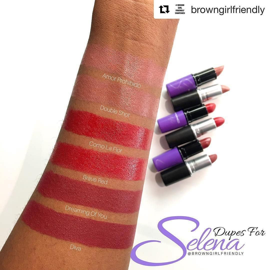 Cocoa Swatches — maccosmetics Selena collection dupes by