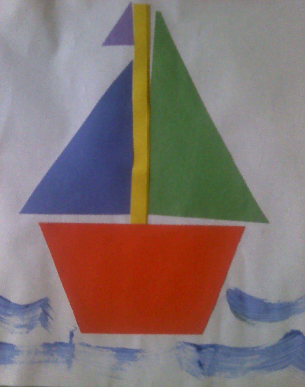 Crafts For Preschoolers Shape Sailboat