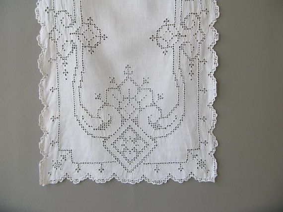 Vintage White Dresser Scarf Runner Pulled Thread By Pedby