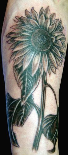 black  sunflower tattoo  | sunflowertattoo