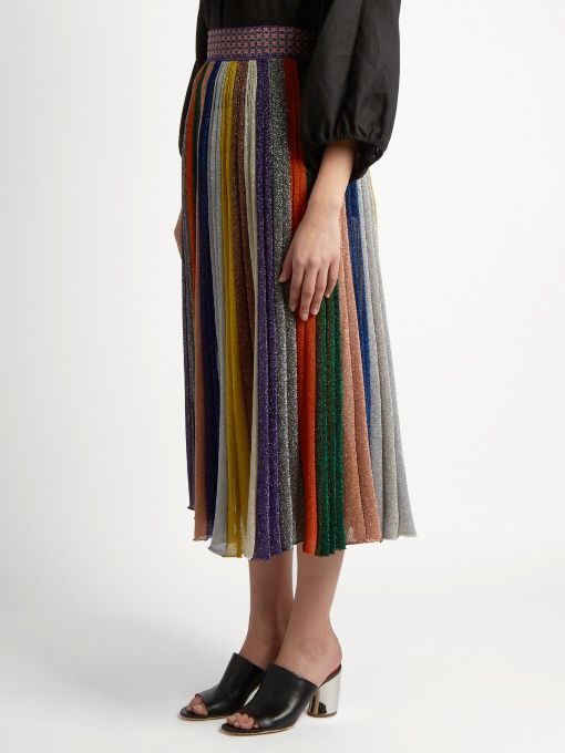 8942166426 Missoni Pleated striped wool-blend midi skirt | Nina & Mia | Missoni ...