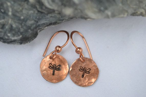 Dragonfly Earrings Hand Hammered Stamped by NubbinRidgeCreations