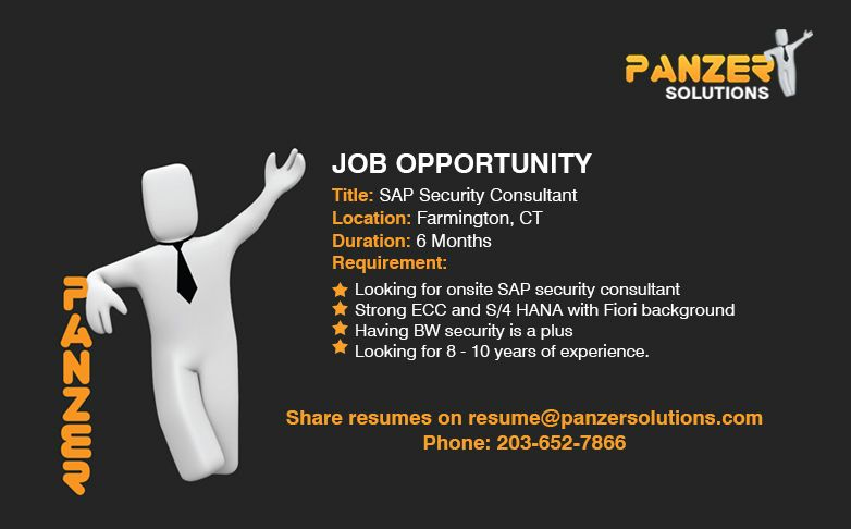 Sap Security Consultant Job Opportunities Job Opening Solutions