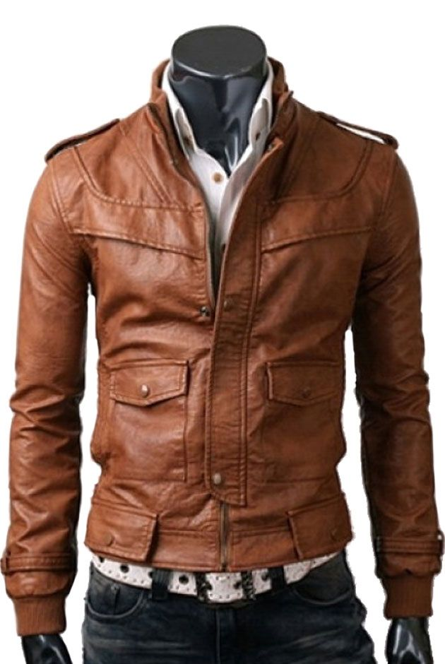 LIGHT BROWN / TAN SLIMFIT RIDER LEATHER JACKET FOR MEN'S ONLY FOR ...