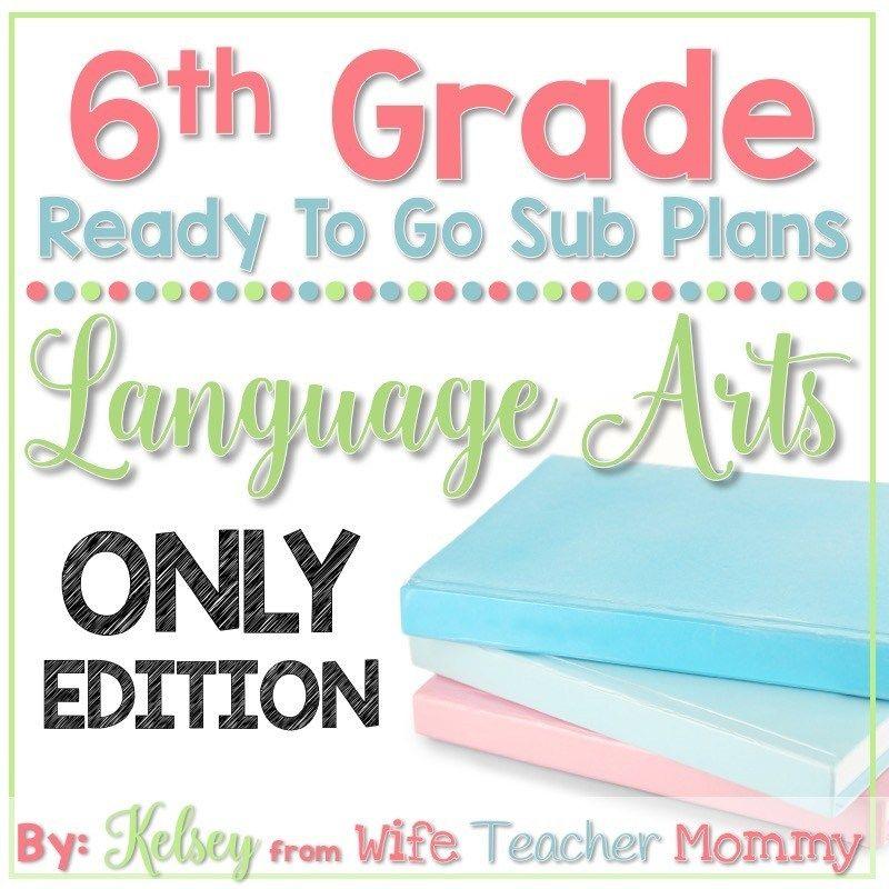 6th Grade Departmentalized Sub Plans - Language Arts #emergencysubplans