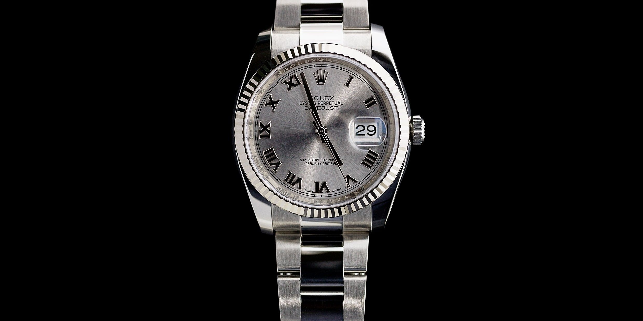 Rolex Datejust Stainless Steel   White Gold Roman Dial Watch ... c5d961e996