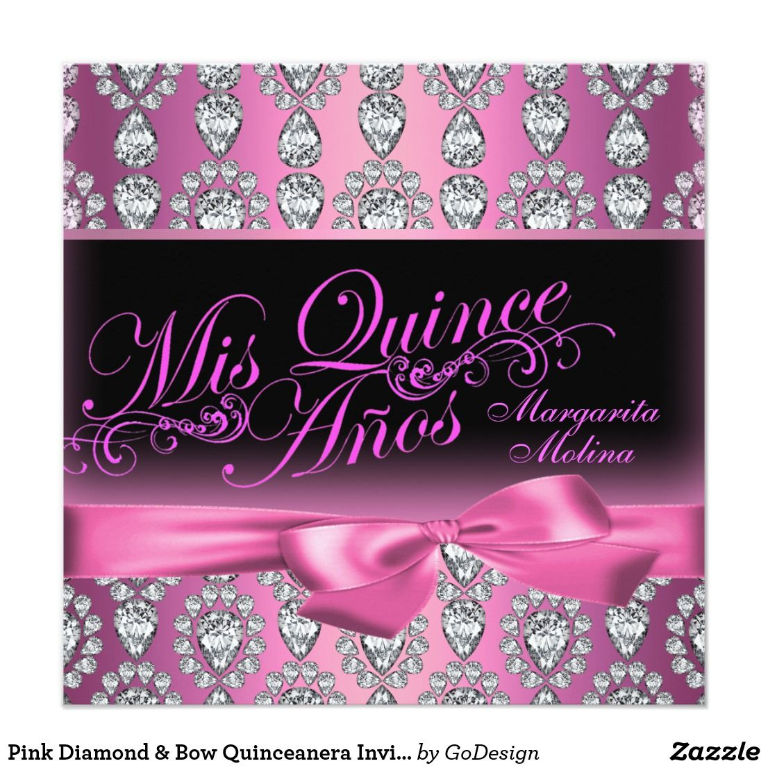 Pink Diamond Bow Quinceanera Invitation Zazzle Com In 2019