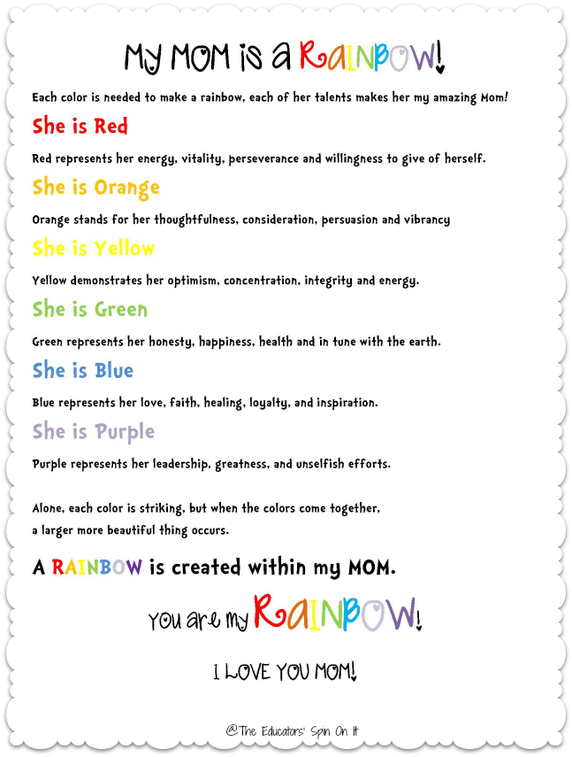 rainbow poem for moms includes a special rainbow painting project too from the educators spin on it