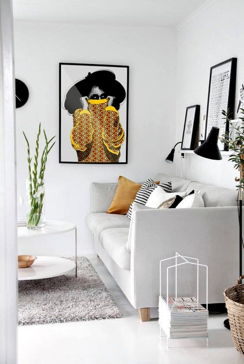 Black Girl Art Ayaba Art Print African American Art Etsy Living Room Color Schemes Minimalist Living Room Living Room Color