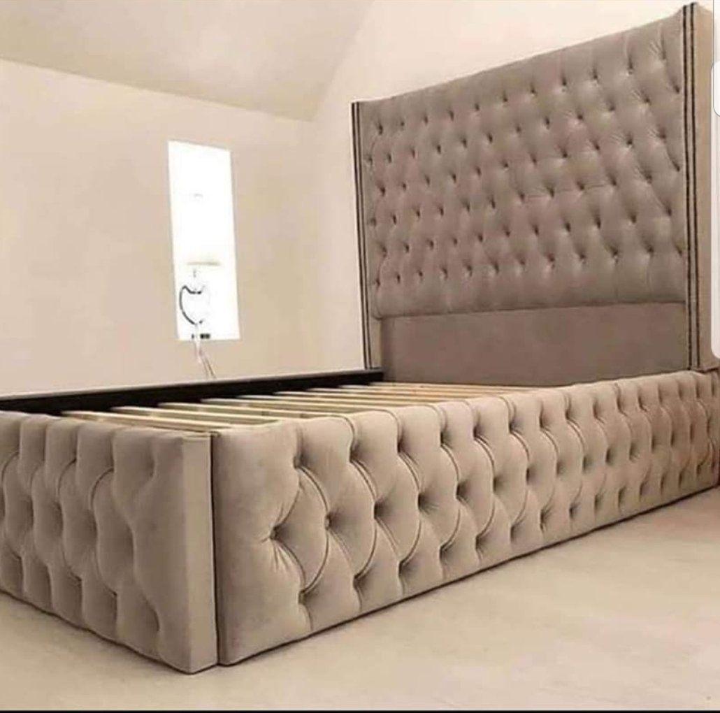 Luxe Curved Wingback Plush Velvet Bed In 2020 Velvet Bed Frame