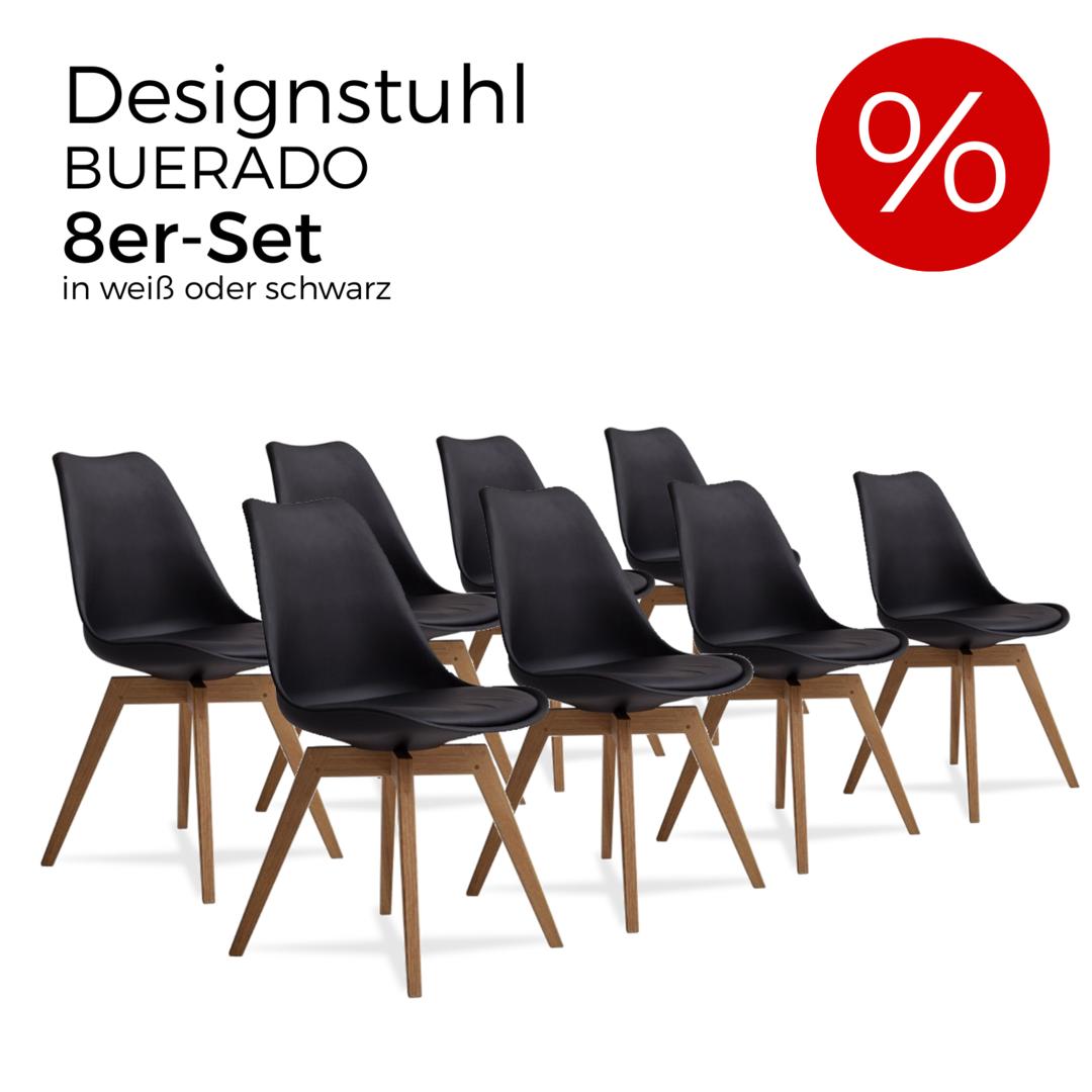5a82300d119d94 BUERADO - 8er-Set Designstuhl in weiß oder schwarz