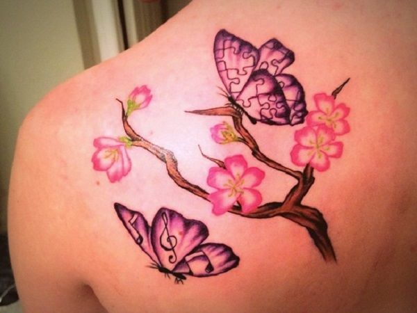 butterfly tattoo with flowers 11 - 50 Butterfly tattoos with flowers for women  <3 <3