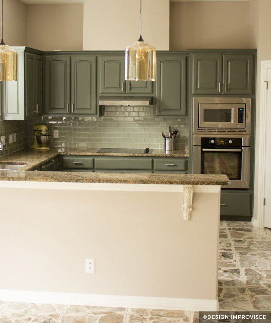 Painting Ideas For Kitchen Cupboards: Green Painted Kitchen Cabinets With Teal Backsplash In