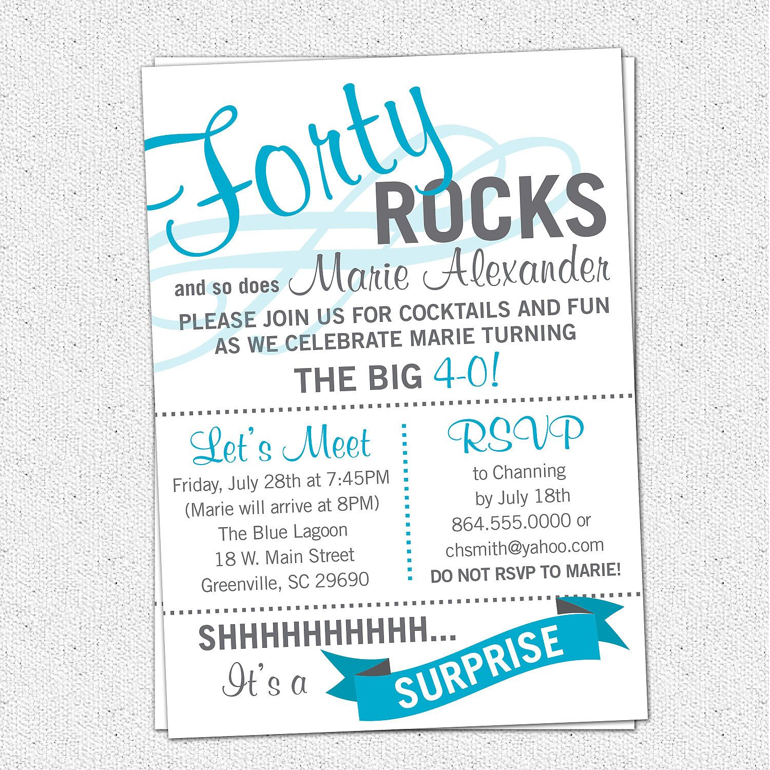 Printable Forty ROCKS Birthday Party Bash Invitation Surprise – 40th Birthday Invitation Sayings