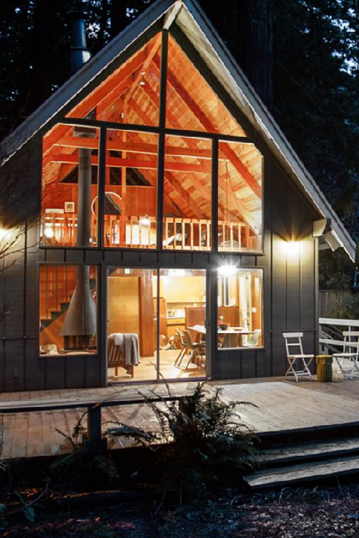 Charming Mid Century Cabin Rental Overlooking Austin Creek In California A Frame Cabin Architecture Tiny House Cabin