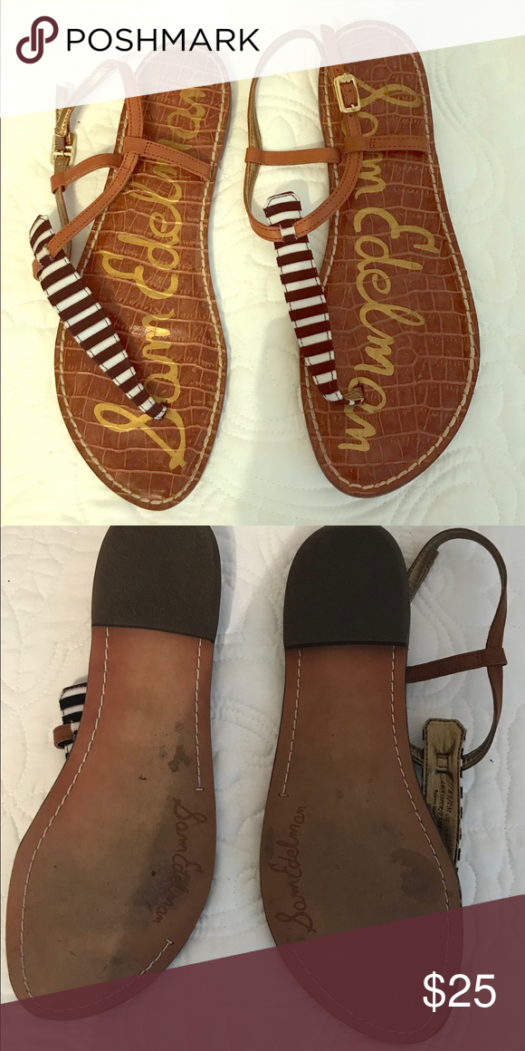 0276d02c5684ba Sam Edelman Gigi sandals EEUC. Cognac brown leather with black and white  striped top strap. Sam Edelman Shoes Sandals