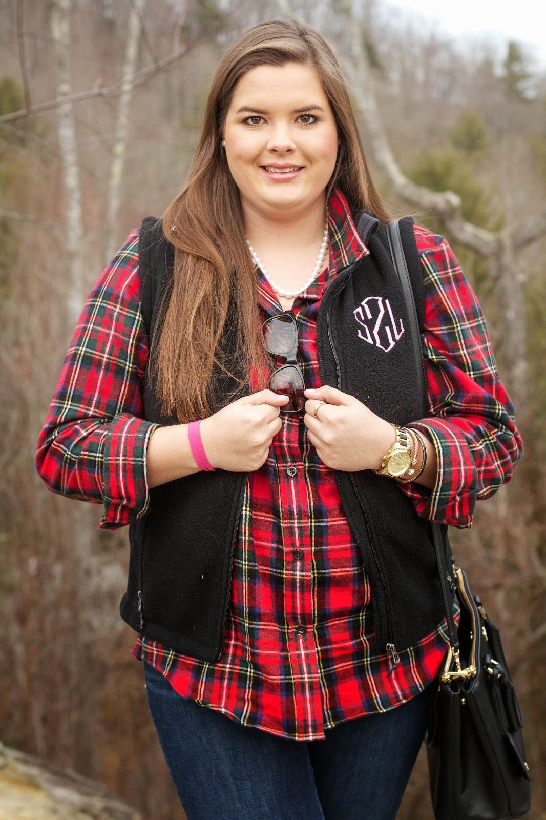 Flannel with jeans and boots  LLBean plaid flannel shirt Marley Lilly monogrammed vest Tory