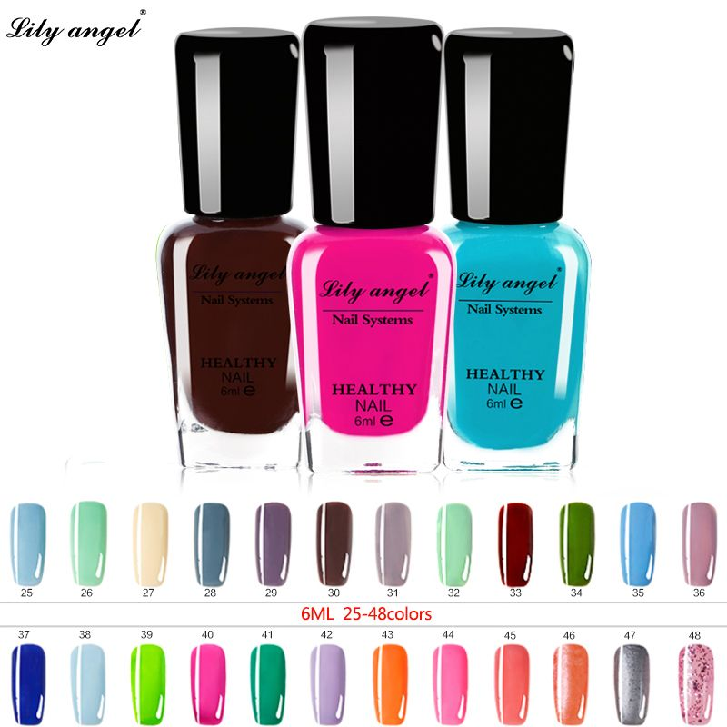 Lily angel 48 colors Colorful 6ml Nail polish Gel Paint Peel off ...