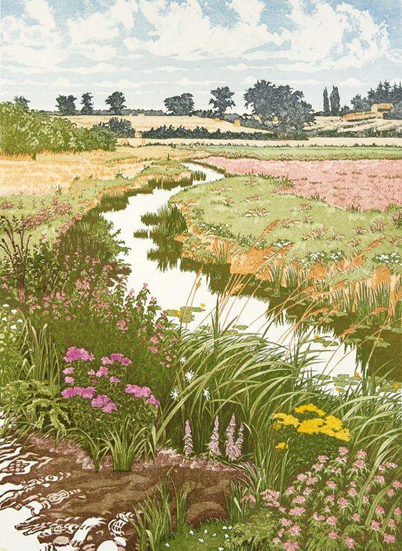 Summer Meadows By Jan Dingle Etching Landscape Illustration Landscape Paintings Landscape