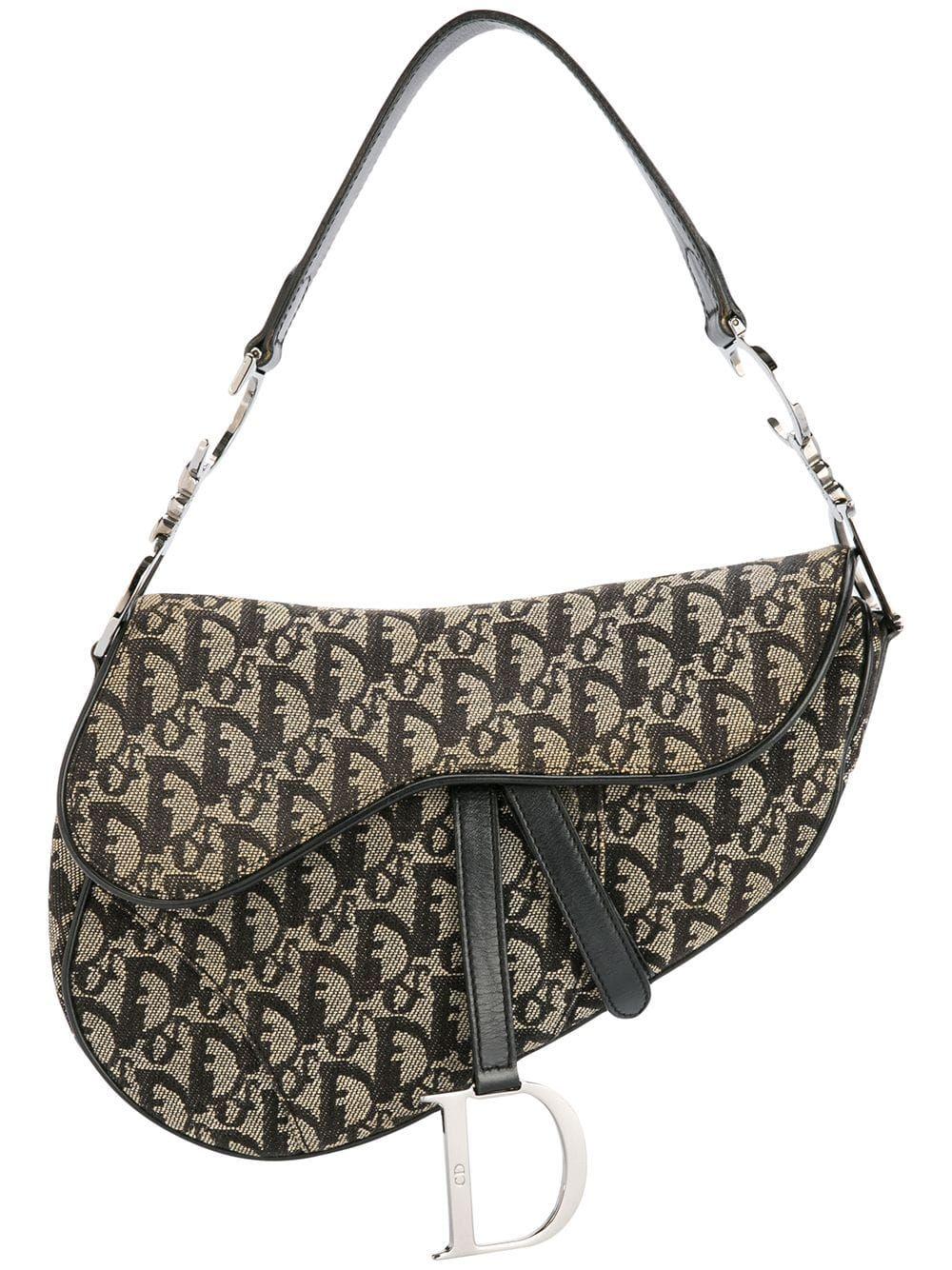 Christian Dior Trotter Pattern Saddle Handbag Farfetch Saddle Handbags Dior Saddle Bag Christian Dior Vintage