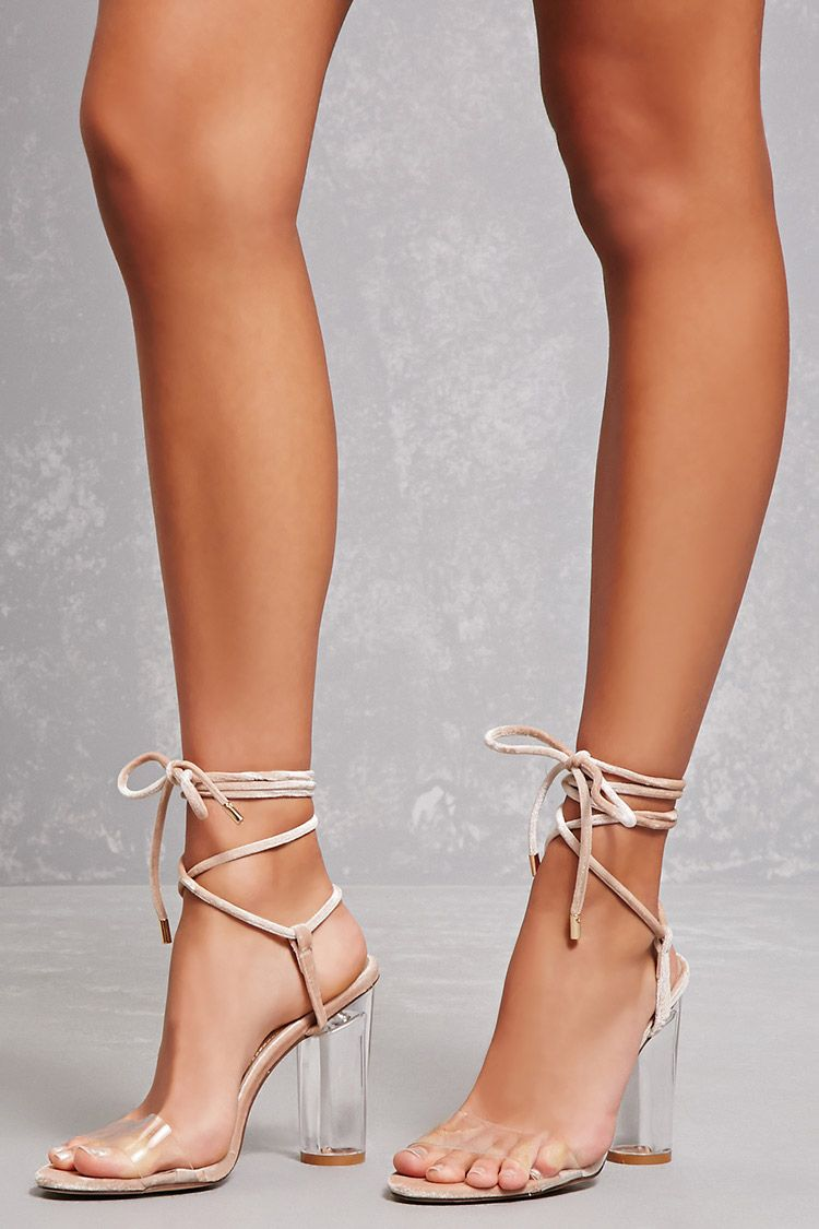 a58498e77ee Velvet Ankle-Wrap Lucite Heels | Forever 21 - 2000144080 | Fashion ...