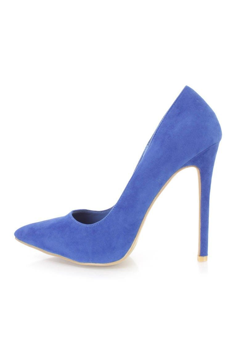 dfadb7a1584 Alba Ricky-5 Blue Single Sole Pump High Heels Faux Suede