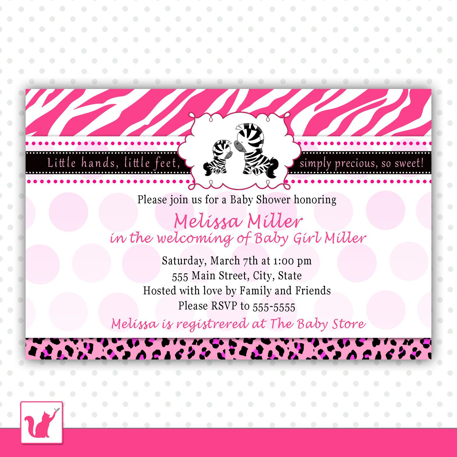 Printable Personalized Lovely Jungle Zebra Baby Girl Shower ...