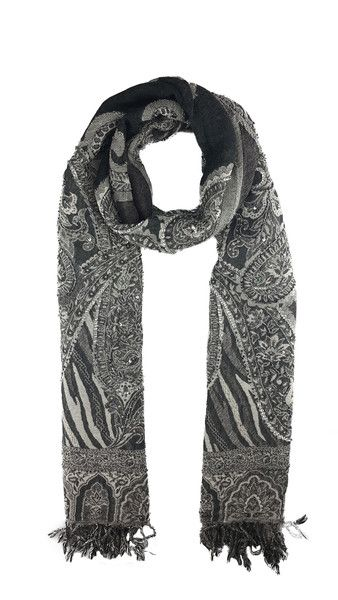 """PRODUCT DETAILS - 26"""" x 71"""" - 2.5"""" fringe - Floral motif and charcoal grey zebra print details - Sequin and beading embellishment -100% Merino wool - Dry clean only - Handmade / Handwoven in India FREE SHIPPING ON ALL ORDERS Enjoy free worldwide shipping and receive it within 7-14 days."""